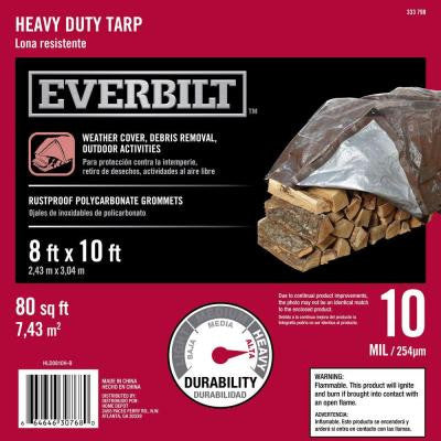 8 ft. x 10 ft. Silver and Brown Heavy Duty Tarp