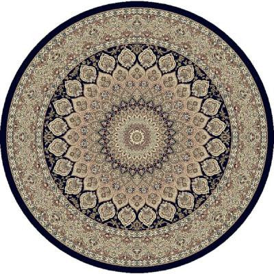 Lawrence Navy 5 ft. 3 in. x 5 ft. 3 in. Round Indoor Area Rug