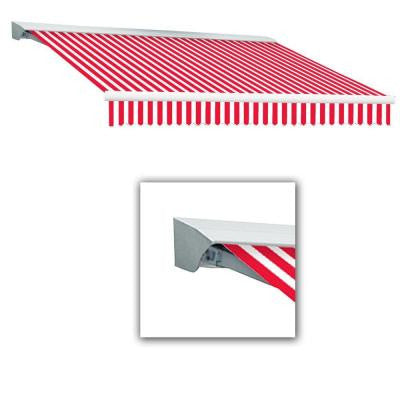 10 ft. LX-Destin Hood Right Motor with Remote Retractable Acrylic Awning (96 in. Projection) in Red/White