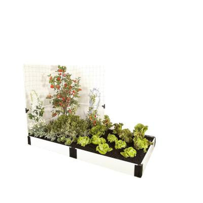 4 ft. x 8 ft. x 8 in. White Composite Raised Garden Bed Kit with Veggie Wall