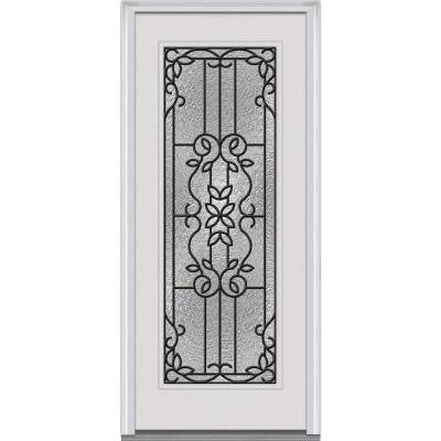 34 in. x 80 in. Mediterranean Decorative Glass Full Lite Primed White Fiberglass Smooth Prehung Front Door