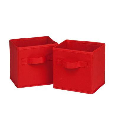 4.9-Qt. Mini Non-Woven Foldable Cube Bin in Red (6-Pack)