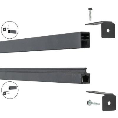 Euro Style 1 in. x 0.75 in. x 71 in. Black Aluminum Top/Bottom Frame Kit Fence Bracket