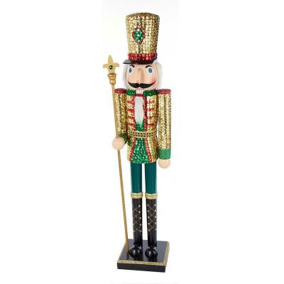 32 in. Wooden Sequins Nutcracker King