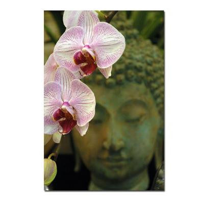 24 in. x 16 in. Orchids and Buddha Canvas Art