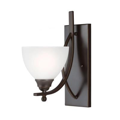 Vitelli 1-Light Autumn Bronze Wall/Bath Sconce with Satin Etched Glass