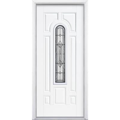36 in. x 80 in. Providence Center Arch Primed Steel Prehung Front Door with Brickmold