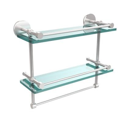 16 in. W x 16 in. L Gallery Double Glass Shelf with Towel Bar in Satin Chrome