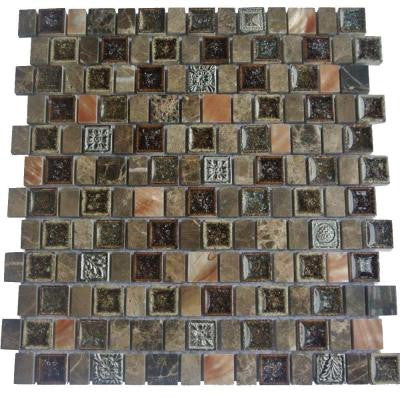 Charm II Forest 12 in. x 12 in. x 8 mm Glass and Stone Mosaic Tile