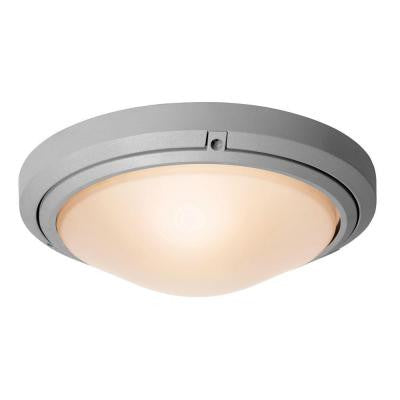 Oceanus 2-Light Outdoor Satin Flush/Wall Mount with Frosted Glass Shade