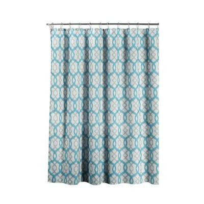 Faux Linen Textured 70 in. W x 72 in. L Shower Curtain with Metal Roller Rings in Ikat Geo Aqua
