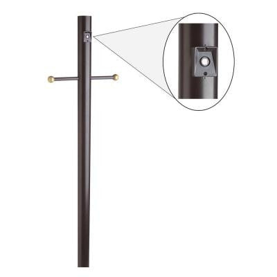 6-2/3 ft. Black Lamp Post with Cross Arm and Photo Eye