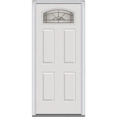 32 in. x 80 in. Master Nouveau Deco Glass Segmented 1/4 Lite Primed White Builder's Choice Steel Prehung Front Door