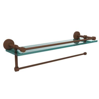 Waverly Place Collection Paper Towel Holder with 16 in. W Gallery Glass Shelf in Antique Bronze