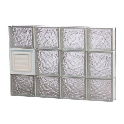 31 in. x 19.25 in. x 3.125 in. Ice Pattern Glass Block Window with Dryer Vent