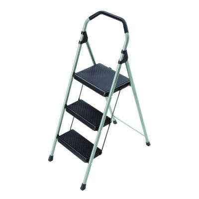 3-Step Lightweight Steel Step Stool Ladder with 225 lb. Load Capacity Type II Duty Rating