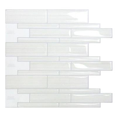Infinity Blanco 10.50 in. x 9.70 in. Mosaic Adhesive Decorative Wall Tile Backsplash in White