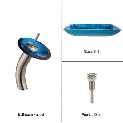 Rectangular Glass Bathroom Sink in Irruption Blue with Single Hole 1-Handle Low Arc Waterfall Faucet in Satin Nickel