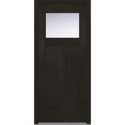 36 in. x 80 in. Classic Clear Glass Craftsman 1 Lite Finished Fir Fiberglass Single Prehung Front Door
