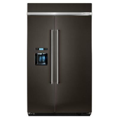 48 in. 29.5 cu. ft. Side by Side Refrigerator in Black Stainless