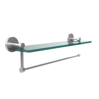 Prestige Skyline Collection Paper Towel Holder with 16 in. W Glass Shelf in Satin Chrome