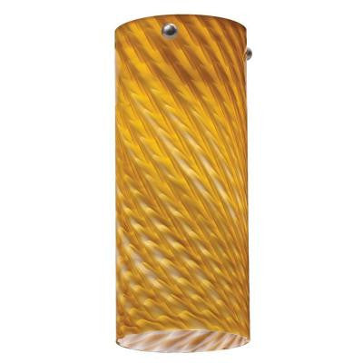 1-Light Amber Twist LED Tall Cylinder Mini Pendant