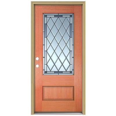 36 in. x 96 in. Firethorne 3/4 Lite Unfinished Mahogany Wood Prehung Front Door with Brickmould and Patina Caming