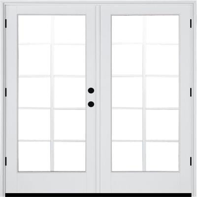 71-1/4 in. x 79-1/2 in. Composite White Left-Hand Outswing Hinged Patio Door with 10 Lite Internal Grille Between Glass