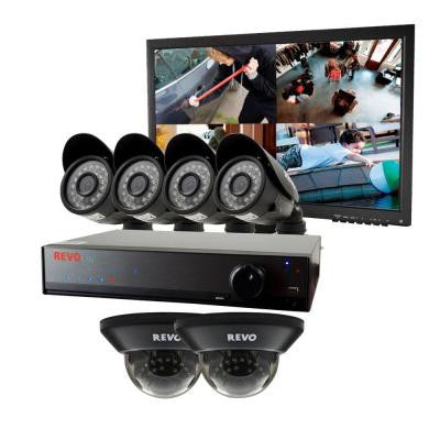 Lite 8-Channel 1TB 960H DVR Surveillance System with 6 700TVL Cameras and Monitor