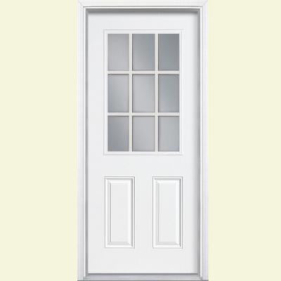 32 in. x 80 in. 9 Lite Primed Steel Prehung Front Door with Brickmold