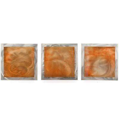 Brevium 12 in. x 38 in. Orange Essence Metal Wall Art (Set of 3)