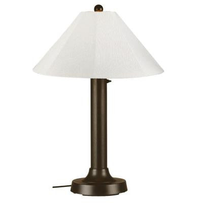 Seaside 34 in. Outdoor Bronze Table Lamp with Natural Linen Shade