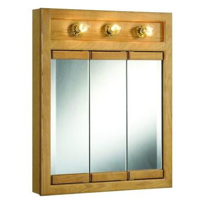 Richland 24 in. x 30 in. 3-Light Tri-View Surface-Mount Medicine Cabinet in Nutmeg Oak