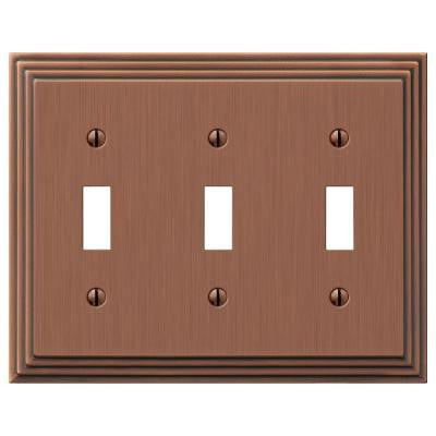 Steps 3 Toggle Wall Plate - Antique Copper