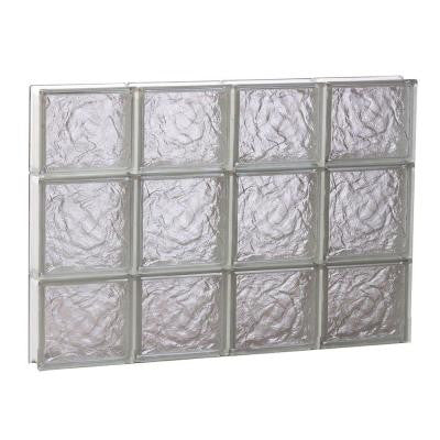 31 in. x 19.25 in. x 3.125 in. Non-Vented Ice Pattern Glass Block Window