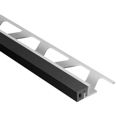 Dilex-KSA Aluminum with Black Insert 1/2 in. x 8 ft. 2-1/2 in. Rubber and Metal Movement Joint Tile Edging Trim