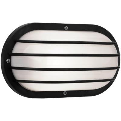 Oval Nautical 10 in. Black Outdoor Wall Mount Light with Grill