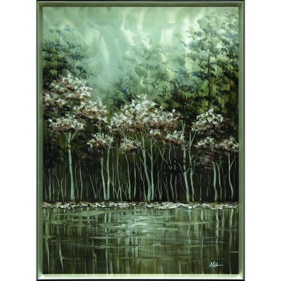 "48 in. x 36 in. ""Grey Nature Scene"" Hand Painted Metal Wall Art"