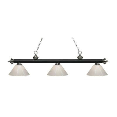 Harper 3-Light Matte Black and Brushed Nickel Island Light with White Shades