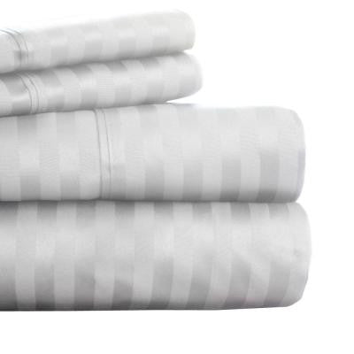 White Sateen 300 Count Cotton King Sheet Set (4-Piece)