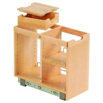 10-3/4x19-1/2x22-1/8 in. FINDIT Birch Kitchen Storage Base Cabinet Pullout with Slide, Half Tray, Cutting Board, Shelf