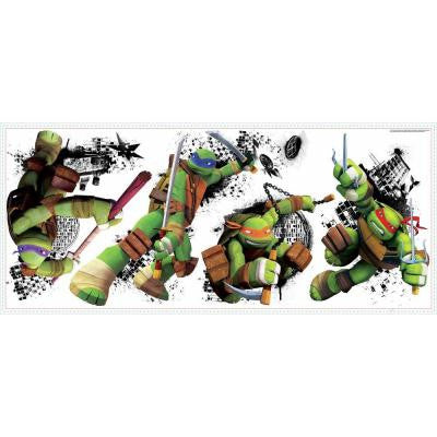 2.5 in. x 21 in. Teenage Mutant Ninja Turtles in Action Peel and Stick Giant Wall Decal (4-Piece)
