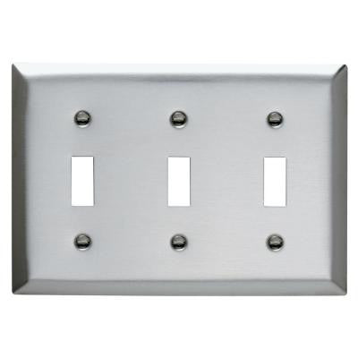 3-Gang 3 Toggles Wall Plate - Stainless Steel