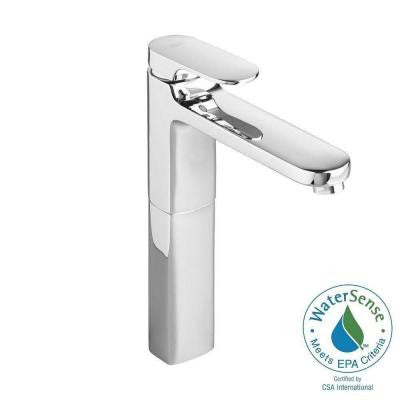 Moments Single Hole Single Handle Low-Arc Bathroom Faucet in Polished Chrome with Grid Drain