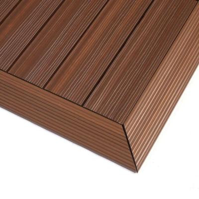 Quick Deck 2 in. x 1 ft Composite Deck Tile Outside Corner Trim in Brazilian Ipe (2-Pieces/box)