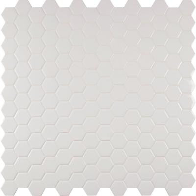 Whisper White Hexagon 12 in. x 12 in. x 8 mm Ceramic Mesh-Mounted Mosaic Tile (10 sq. ft. / case)