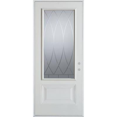 36 in. x 80 in. V-Groove 3/4 Lite 1-Panel Prefinished White Left-Hand Inswing Steel Prehung Front Door