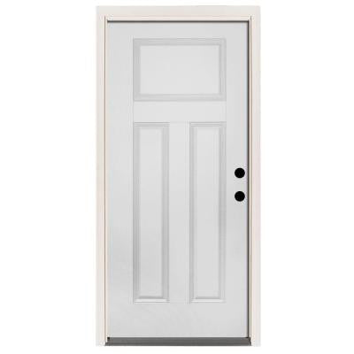 32 in. x 80 in. Premium 3-Panel Primed White Steel Prehung Front Door with 32 in. Left-Hand Inswing and 6 in. Wall