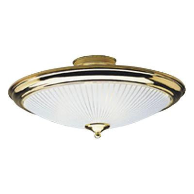 2-Light Polished Brass Interior Ceiling Semi-Flush Mount Light with White and Clear Glass