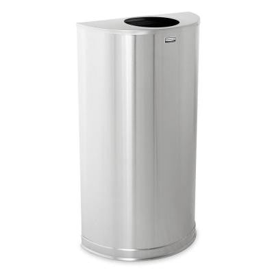 Atrium 12 Gal. Satin Stainless Steel Half-Round Open Top Trash Can